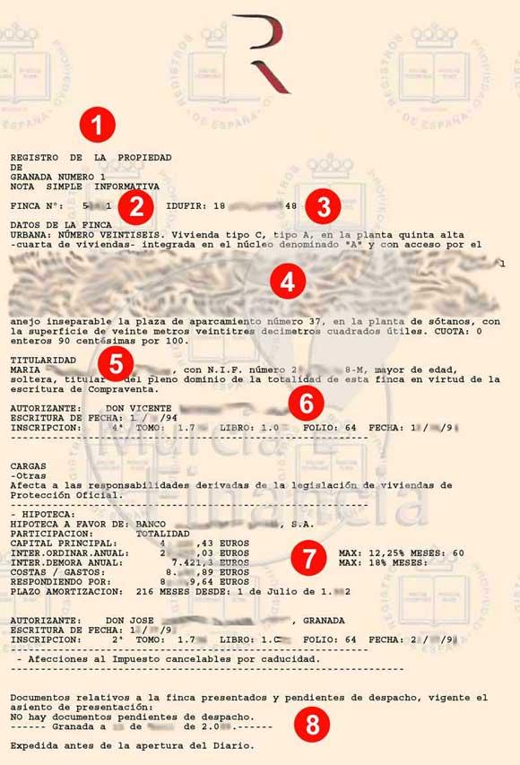 Ejemplo de nota simple del registro